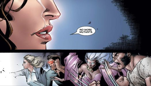 """Wanda Maximoff/Scarlet witch depowers most of the world's mutants by saying """"No more mutants,"""" in House of M #7, Marvel Comics (2005)."""