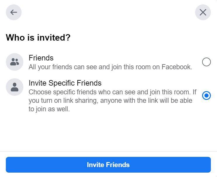 """Questa finestra ti dà la possibilità di invitare i tuoi """"Amici"""" o """"Invita amici specifici"""" nella tua stanza."""