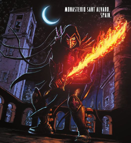 Azrael brandishes his flame sword of vengeance on the moonlit rooftop of the Monasterio Sant Alvard in Spain in Catwoman 2021 Annual.