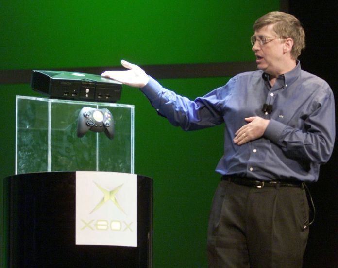 Microsoft co-founder Bill Gates presenting the Xbox on stage at CES 2001