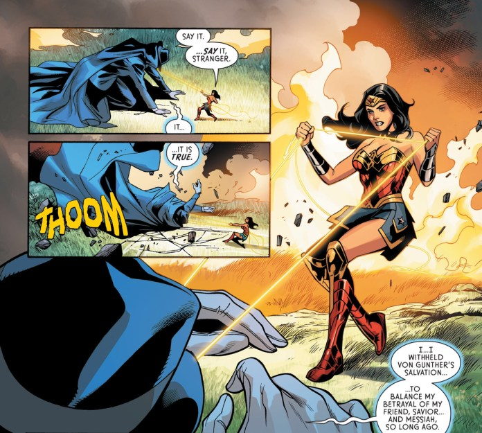 Under the power of Wonder Woman's lasso, the Phantom Stranger/Judas Iscariot admits that he cultivated Paula von Gunther's sin in order to balance his own betrayal of Jesus Christ, in Wonder Woman #758, DC Comics (2020).