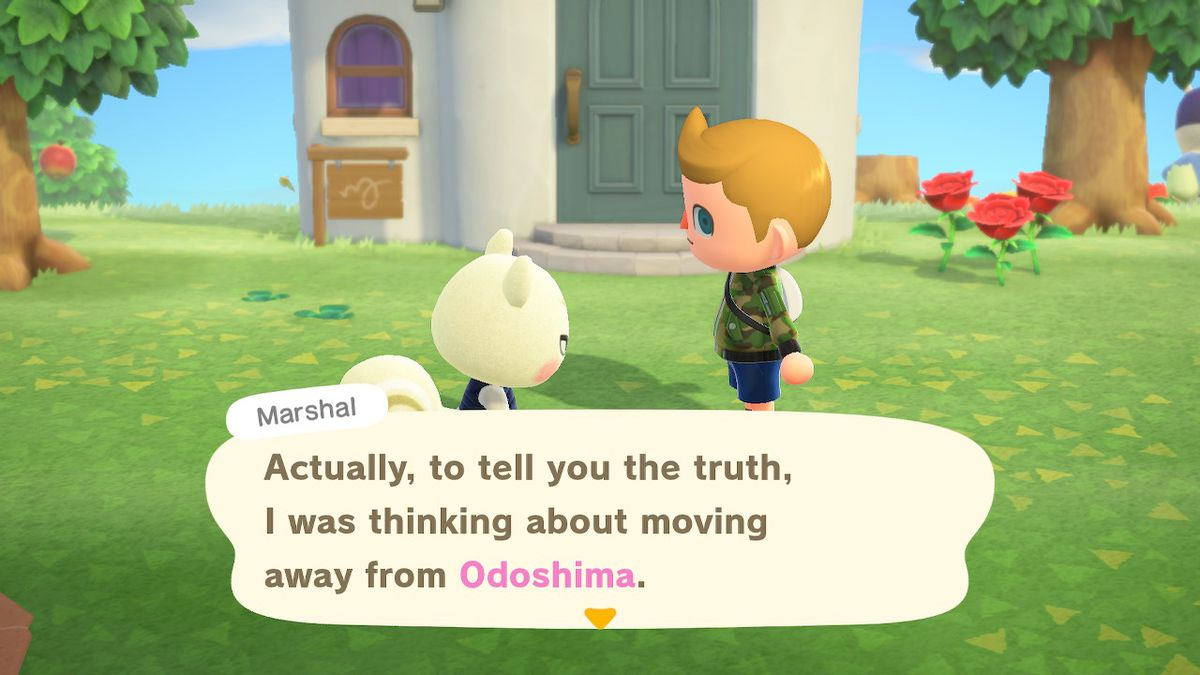 A villager speaks with Marshal the squirrel in a screenshot from Animal Crossing: New Horizons