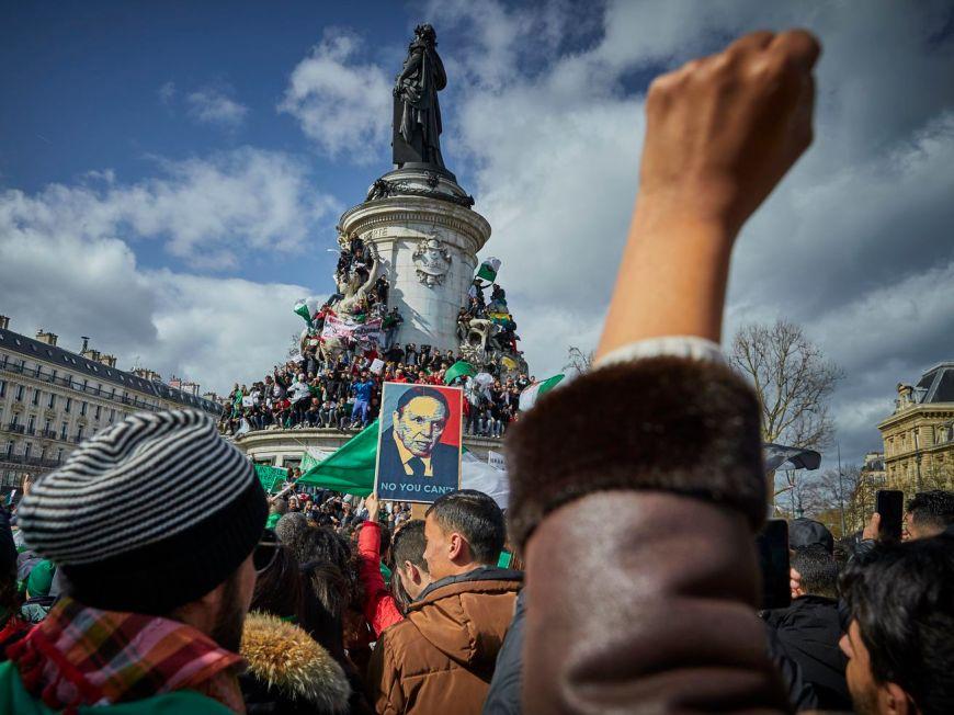 French Algerian demonstrators peaceful demonstration on Place de la République to protest against a fifth presidential term of President Abdelaziz Bouteflika on March 10, 2019 in Paris, France.