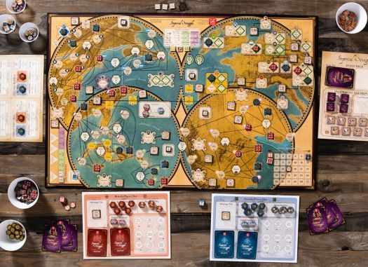 A game of Twilight Struggle laid out for solo play.