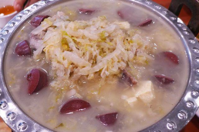 Golden Palace Gourmet's blood sausage and suancai