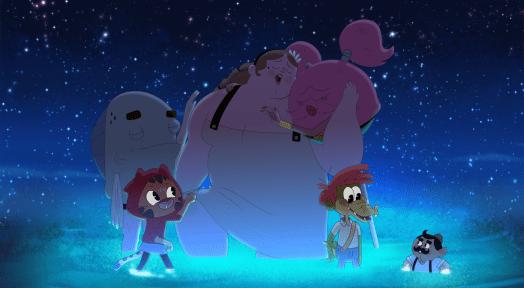 Bertie, Furlecia, Alia, Arlo, Tony, and Marcellus surrounded by glowing algae