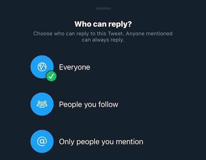 Twitter is letting all customers restrict replies to their tweets on iOS