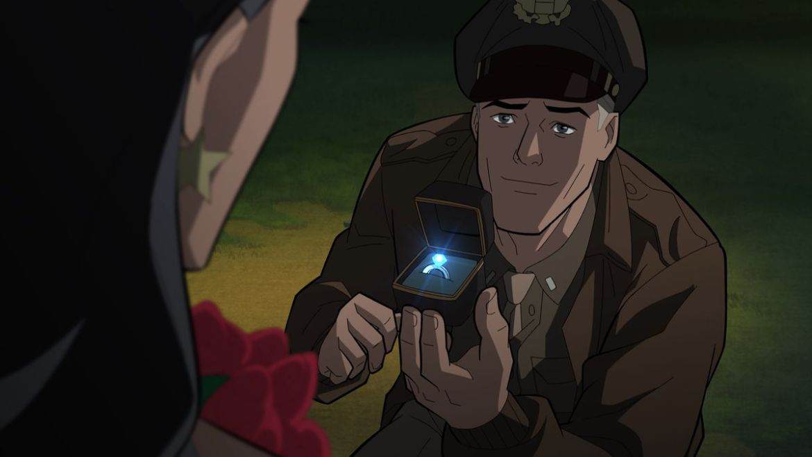 Kneeling, Steve Trevor holds a box with a shining diamond ring in it out to Wonder Woman in Justice Society: World War II.