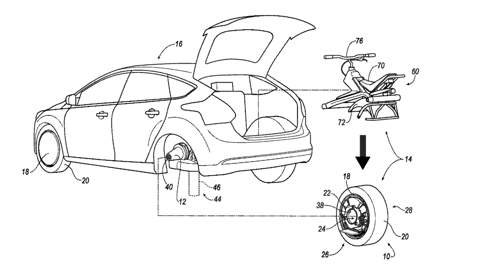 Ford files patent for rear tire that converts into an
