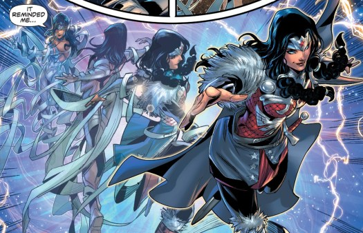 Wonder Woman twirls through the cosmic firmament, transforming from her godly raiment into the quilted armor of a norse warrior in Infinite Frontier #0, DC Comics (2021).