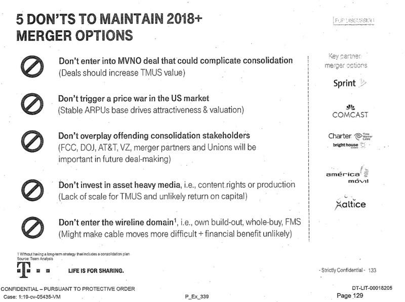 """T-Mobile elenca """"Non scatenare una guerra dei prezzi nel mercato statunitense"""" come punto chiave nel mantenimento delle opzioni di fusione."""