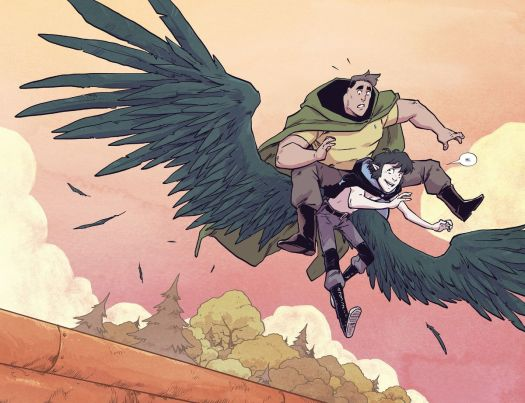Wynd uses his new wings for the first time to save his friends in Wynd #5, Boom Studios (2020).