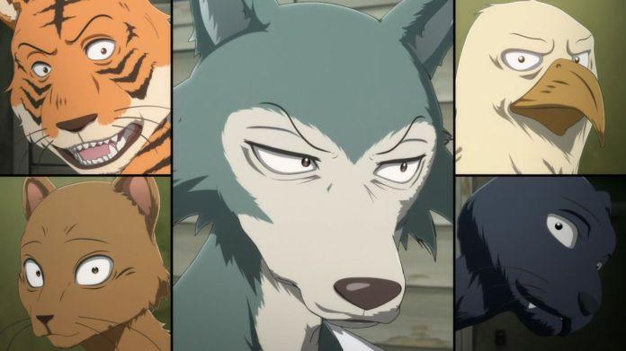 Split frame of Legoshi with his anthropomorphic animal classmates in Beastars Season 2.