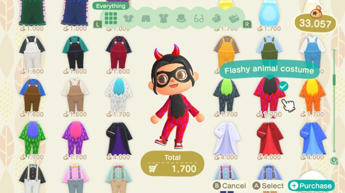 An Animal Crossing character tries on a Flashy Animal Costume