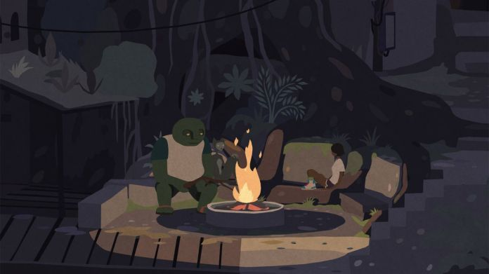 Kai sits at a fireside along with some of the residents of Mutazione.