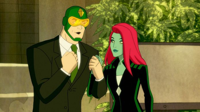 Kite-Man excitedly clasps hands with Poison Ivy. He is wearing a suit. (Harley Quinn Season 2)