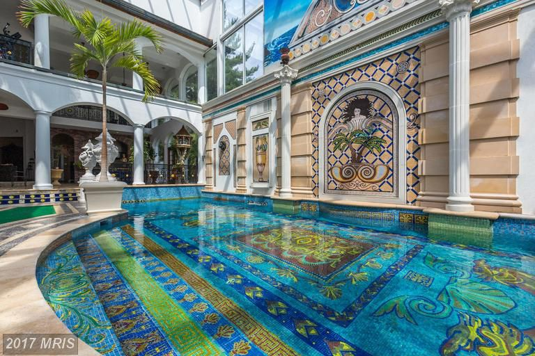 This Potomac McMansions pool is intense vibrant and oh