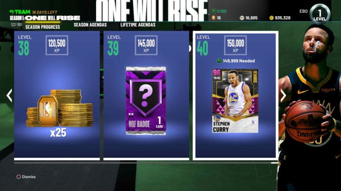 Screen showing the rewards for the first season of content in NBA 2K21's MyTeam