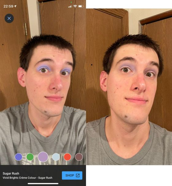 A comparison of the same makeup using Google's AR sample and the real thing