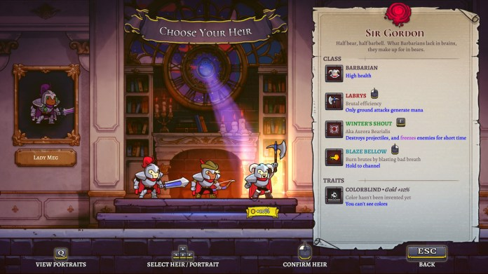 The heir selection screen in Rogue Legacy 2