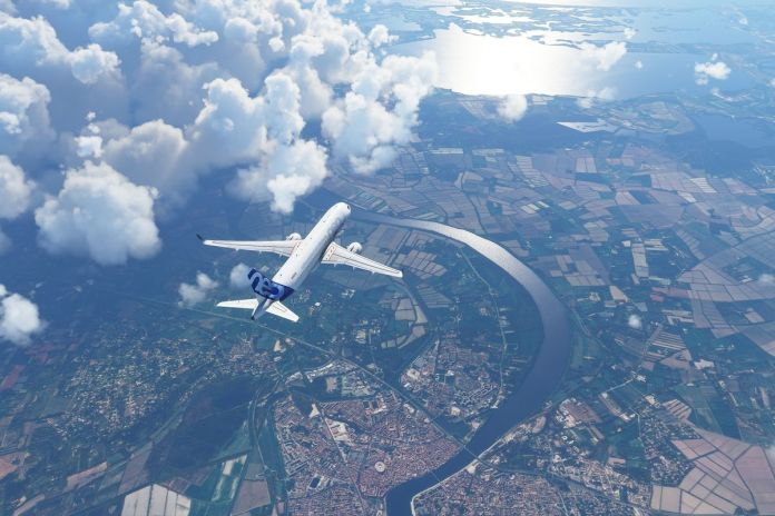 an Airbus A320 flies over France in Microsoft Flight Simulator