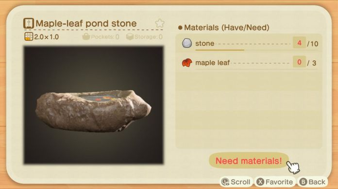 A recipe list for a Maple-leaf Pond Stone