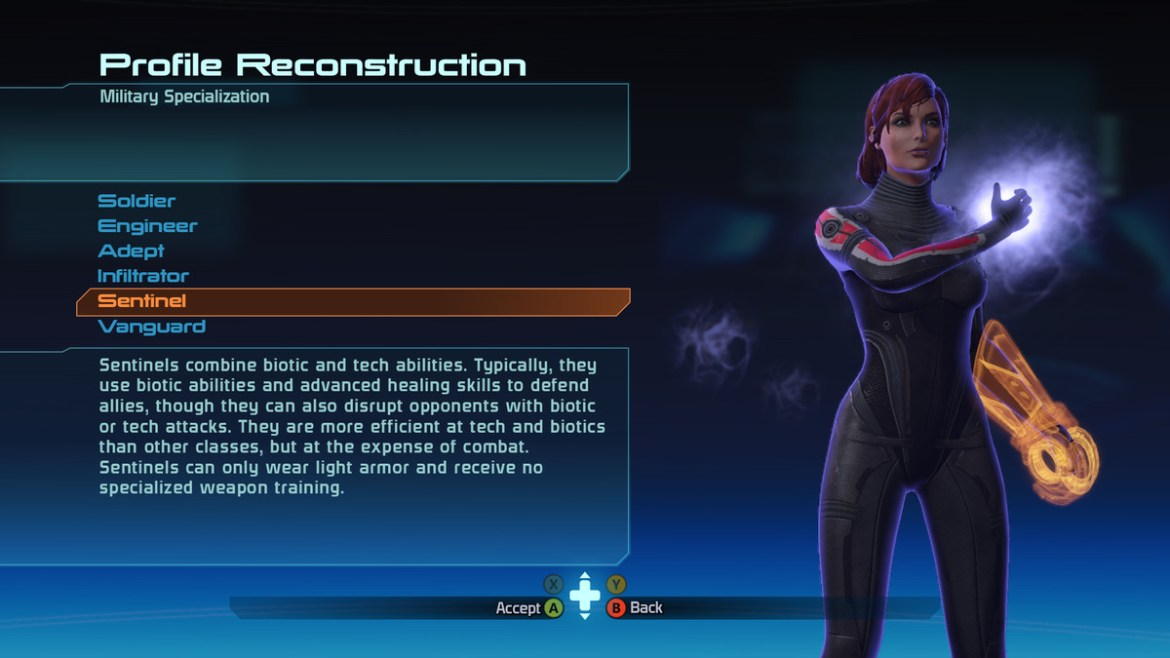 The military specialization screen in Mass Effect