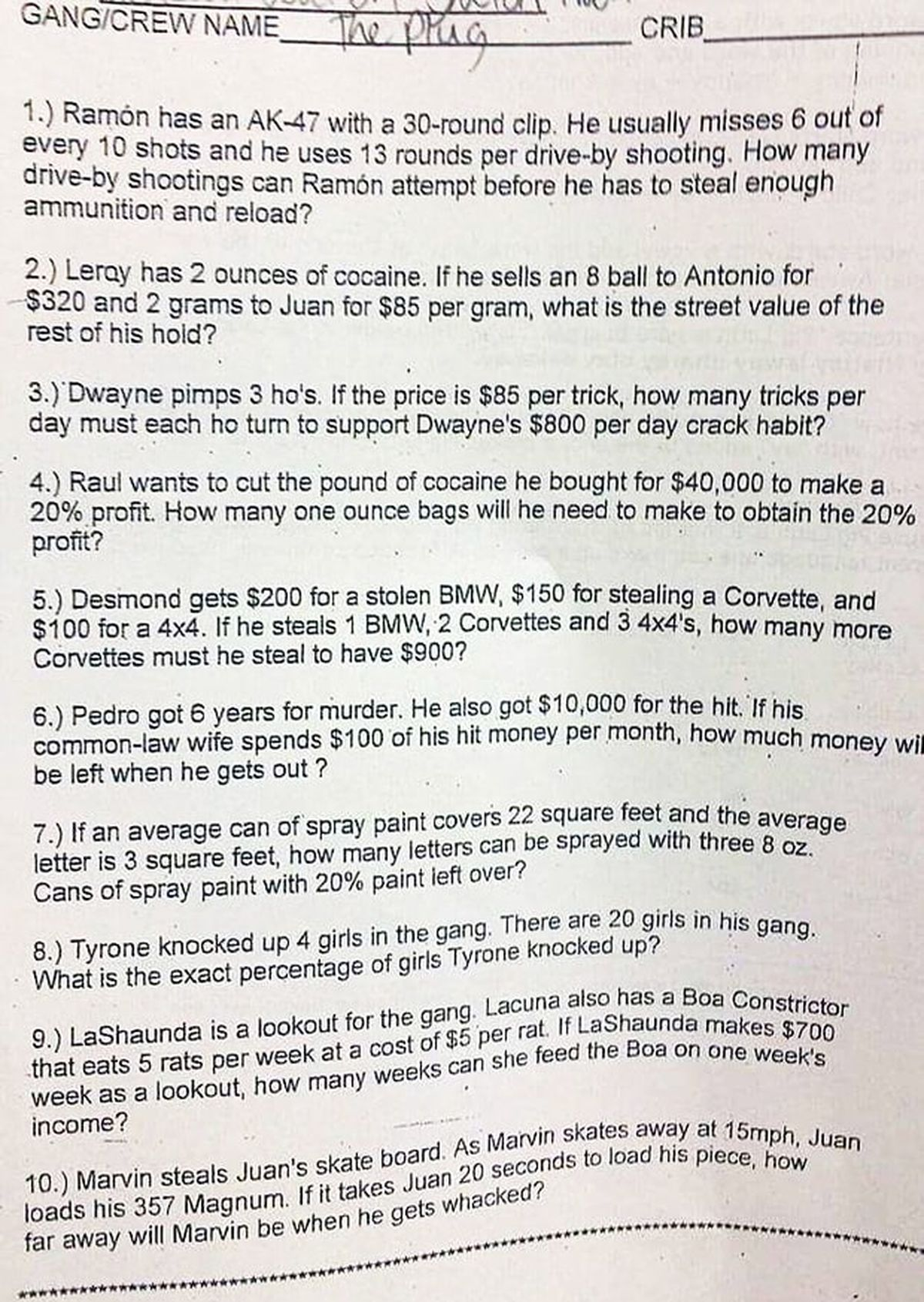 This Is The Most Racist Math Test You Ll Ever See