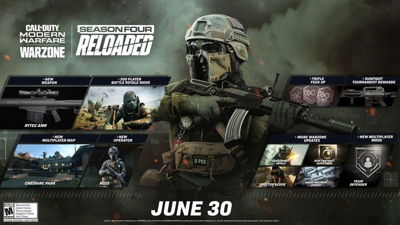 The roadmap of all the content coming to Call of Duty: Warzone in the season 4 reloaded patch