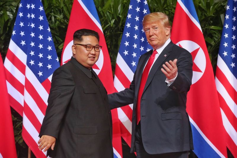 President Donald Trump meets with North Korean leader Kim Jong Un in Singapore during their June 12, 2018 summit.