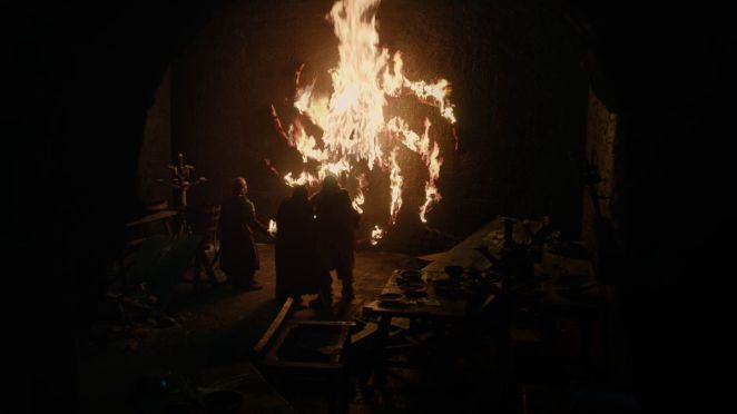 Game of Thrones S08E01 Eddison Tollett, Beric Dondarrion, and others at Last Hearth