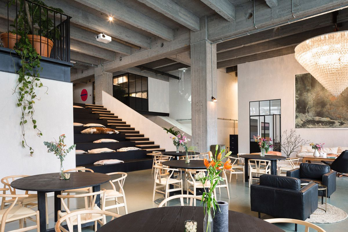 high chair restaurant bistro table and chairs nyc's line inspired this sleek coworking space in belgium - curbed