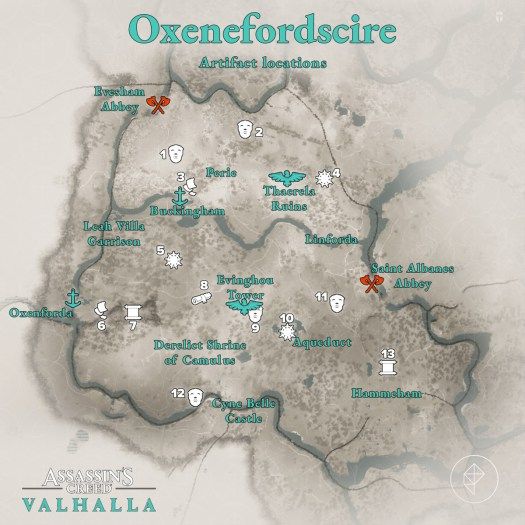 Oxenefordscire Artifacts locations map