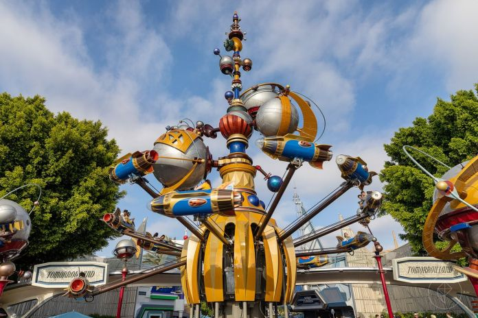 The entrance to Tomorrowland in Disneyland, CA
