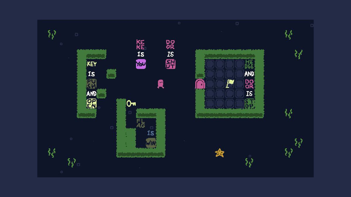 a purple character named Keke tries to solve a puzzle in Baba Is You