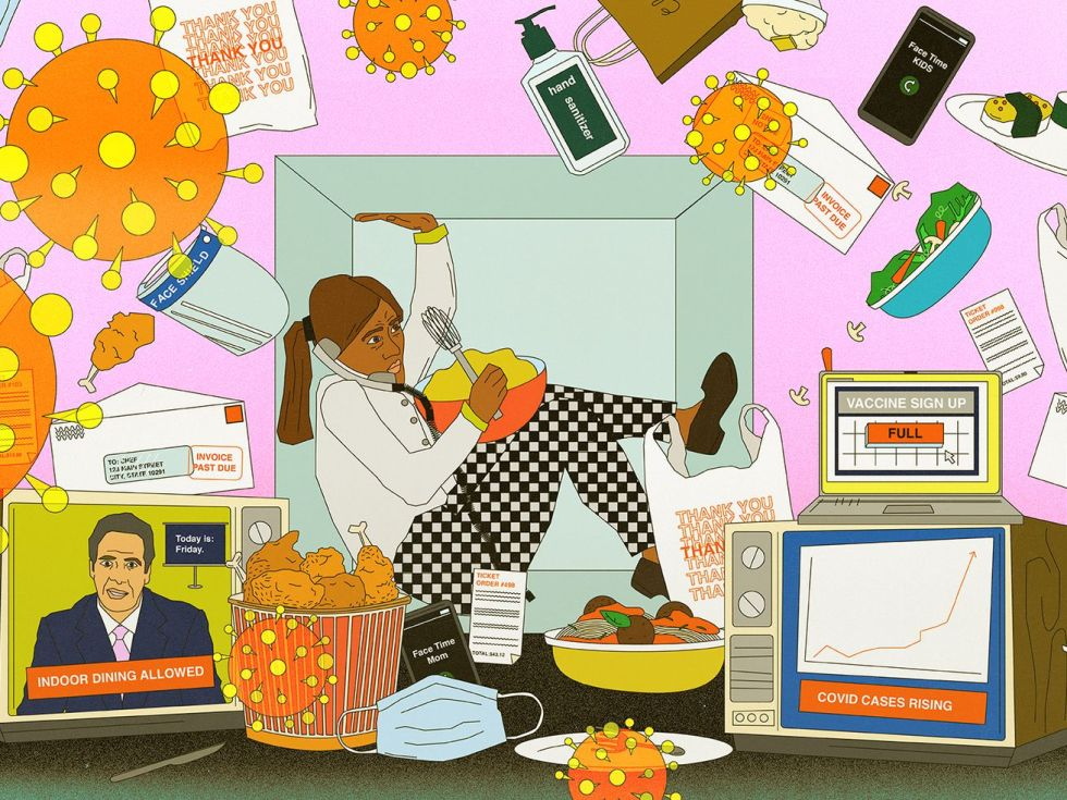 An illustration showing a chef surrounded by takeout bags, coronavirus spike proteins, and tv news alerts.