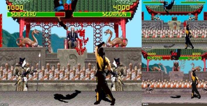 Trois captures d'écran montrent différents niveaux de sang dans trois versions différentes du jeu.