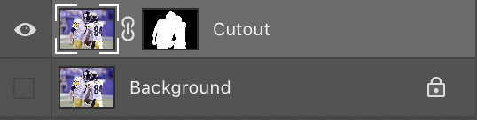 """The layer of """"Cutouts"""" is being selected while the layer """"Background"""" is being turned off in PhotoShop."""
