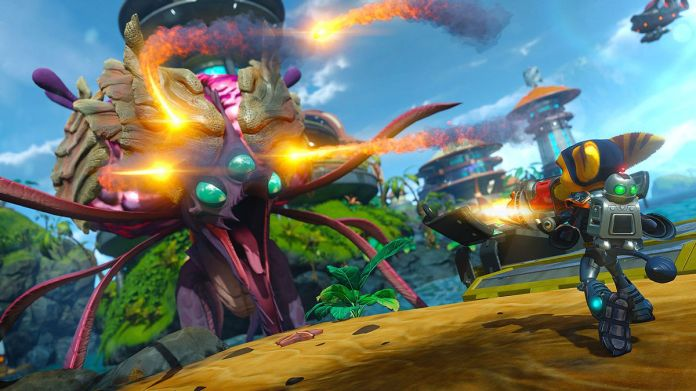 Ratchet & Clank - fighting a tentacle monster