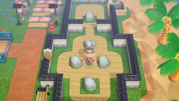 A rock garden in progress in Animal Crossing: New Horizons