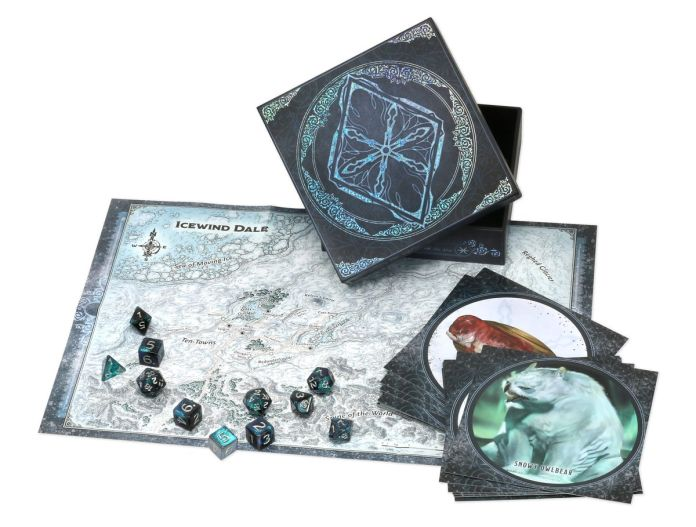 A custom set of dice featuring a map of Icewind Dale and several handouts with monster lore.