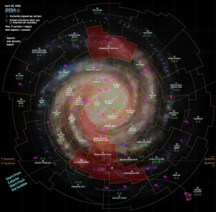 The regional map of Elite: Dangerous is divided into dozens of sectors. This version shows an overlay of region names, as well as the planned distribution of fleet carriers all over the galaxy.