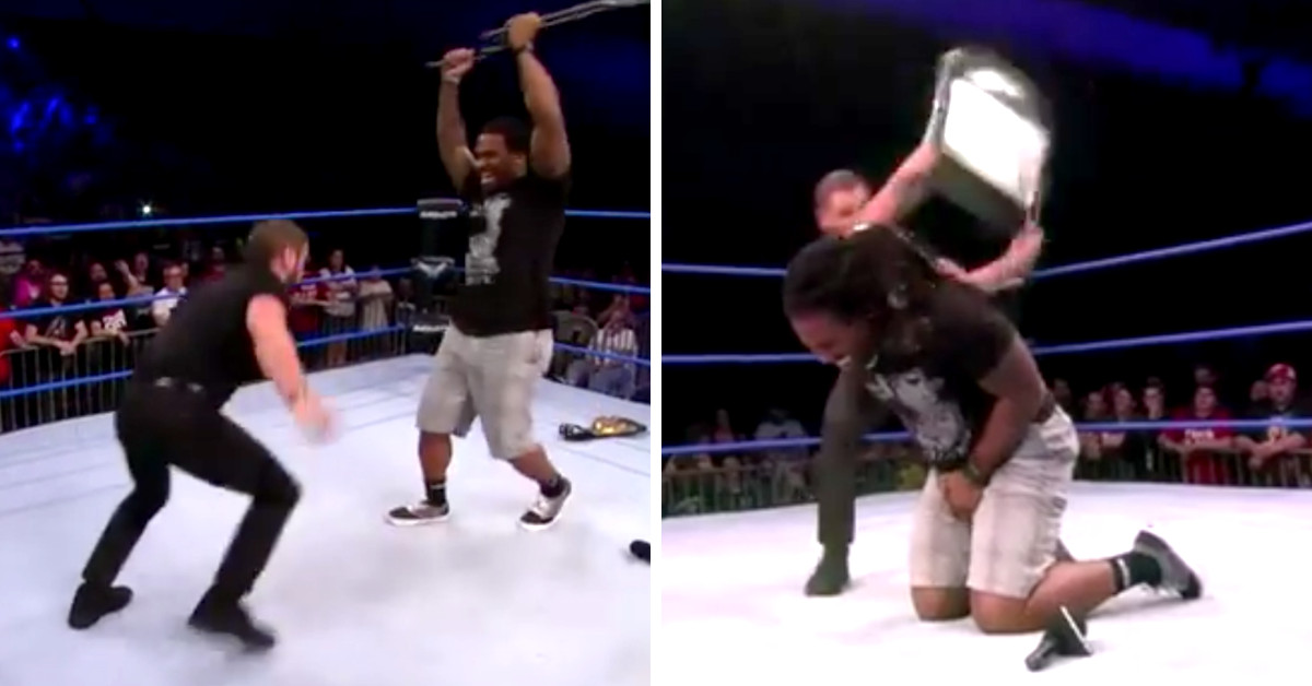 steel chair in wrestling cheap white chairs deangelo williams got hit with a his return to pro