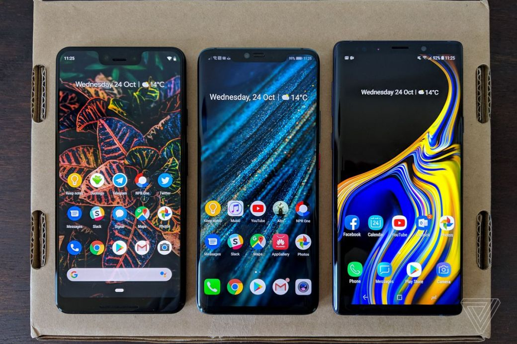 From left: Google's Pixel 3 XL, Huawei's Mate 20 Pro, and Samsung's Galaxy Note 9