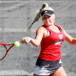 Jacque Dunyon of Weber makes a forehand hit during the UHSAA 6A girls tennis state championship first singles final at Liberty Park in Salt Lake City on Saturday, Oct. 10, 2020.