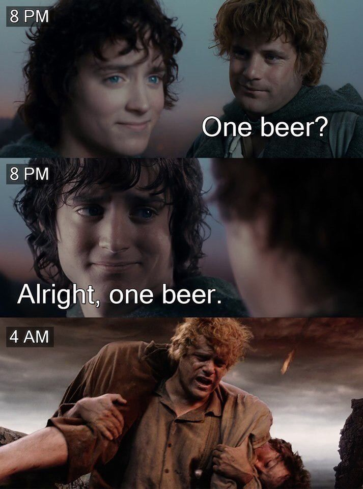 Screencaps of Frodo and Sam from the Lord of the Rings trilogy are repurposed with captions to create a story of Frodo and Sam deciding to have one drink at 8pm, followed by Sam carrying an exhausted Frodo through a lava field at 4am.