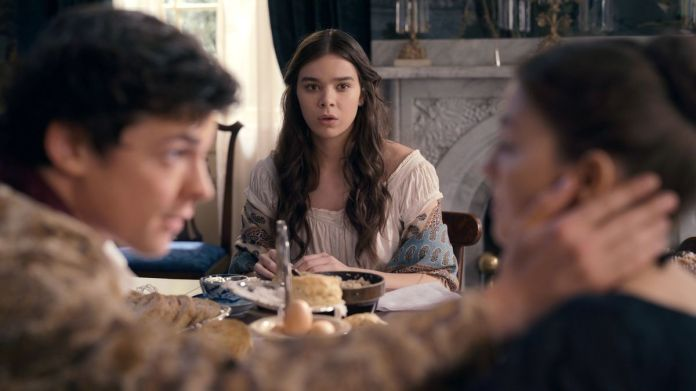 hailee steinfeld as emily dickinson looking aghast her brother and her best friend's recent engagement announcement