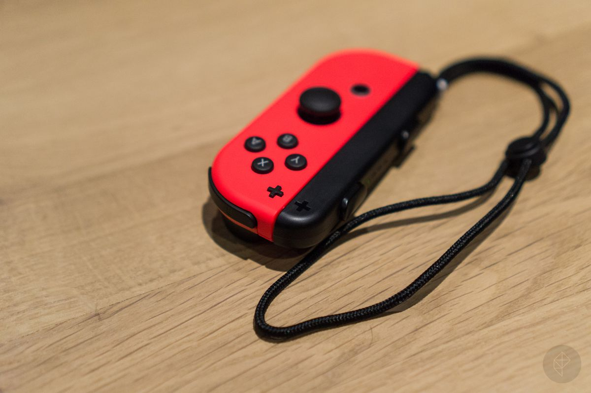 hight resolution of nintendo switch red right joy con with wrist strap