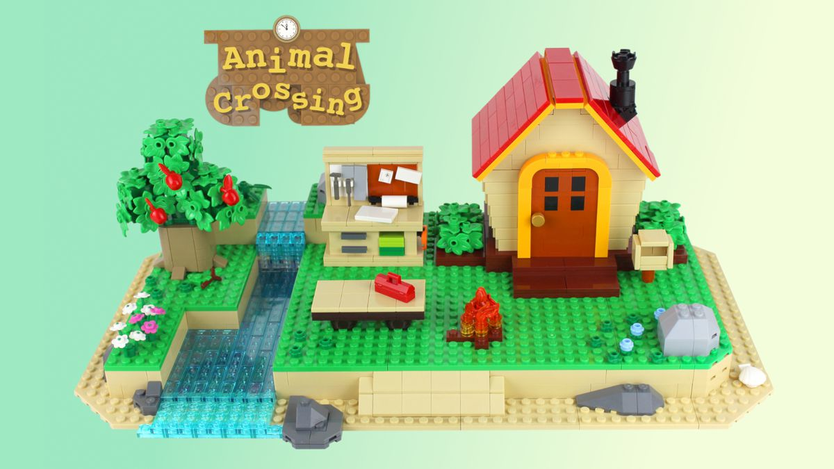 Image of a lego Animal Crossing set, including a house, beach, workbench, and river.
