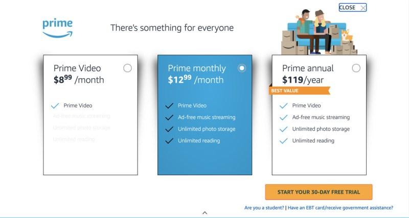 Oltre al suo piano di base, Amazon offre solo video e piani per studenti e utenti EBT/Medicaid.